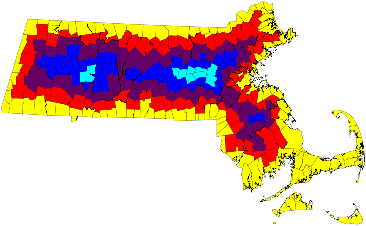 Map of MA municipalities colored by degree of separation from the ocean or any adjacent state