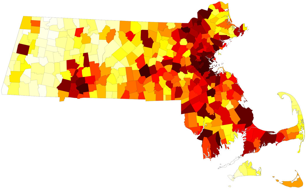 Massachusetts municipal population rank map