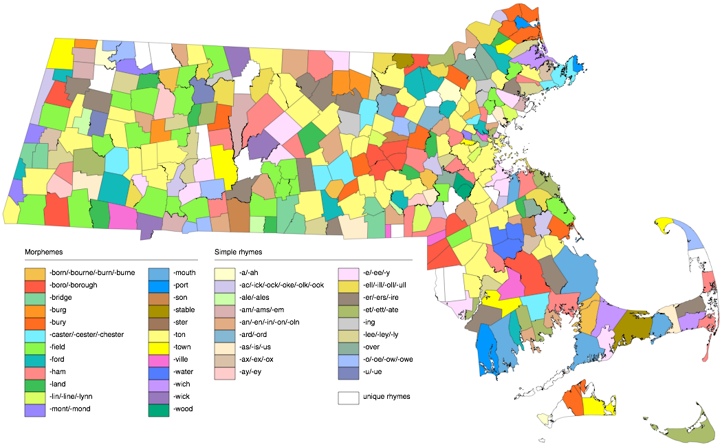 Map of Massachusetts towns colored by their names' suffixes