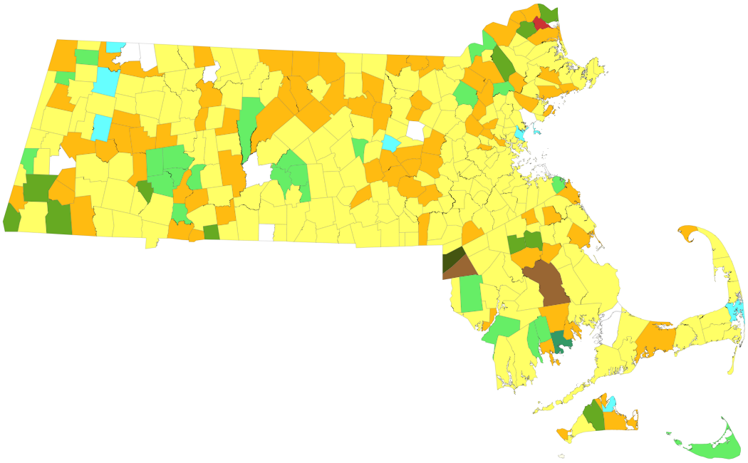 Map of Massachusetts towns colored by syllable stress of their names